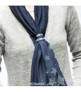 Bruine sjaal riempjes met metalen sterren ( 2 stuks )