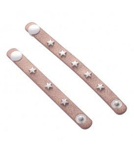 Licht bruine sjaal riempjes met sterren studs ( 2 stuks )