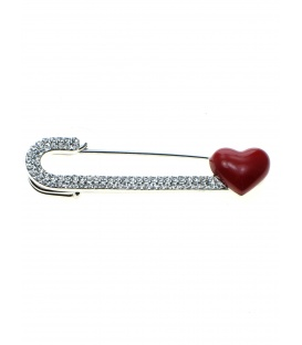 Mooie sjaalspeld, veiligheidsspeld met strass steentjes en rood hartje