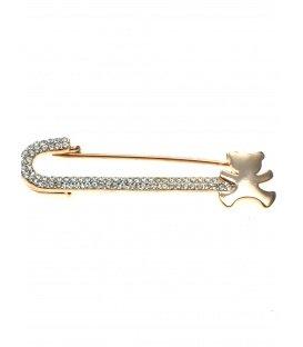 Rosgold sjaalspeld met beertje en heldere strass steentjes