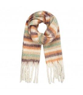 Lichte multi gekleurde gestreepte wintersjaal met franjes