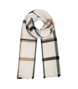 Witte geruite sjaal met bruine en zwarte strepen
