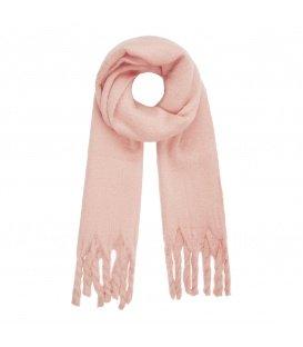 Leuke roze wintersjaal met gedraaide franjes