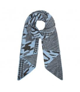 Blauwe wintersjaal met leuk patroon